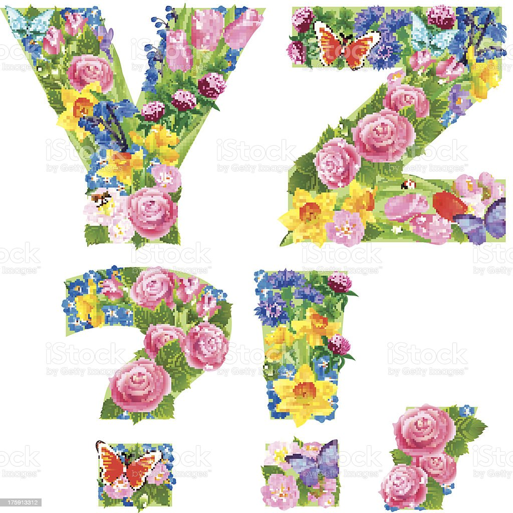 Alphabet of flowers YZ royalty-free stock vector art