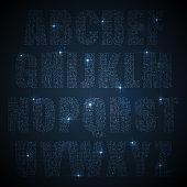 Alphabet of glittering sequins (glittering font concept)