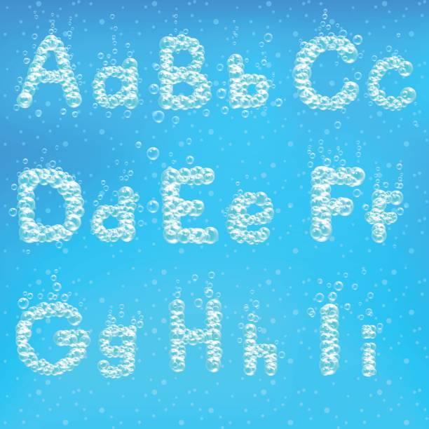 alphabet of soap bubbles vector illustration. - bubble fonts stock illustrations