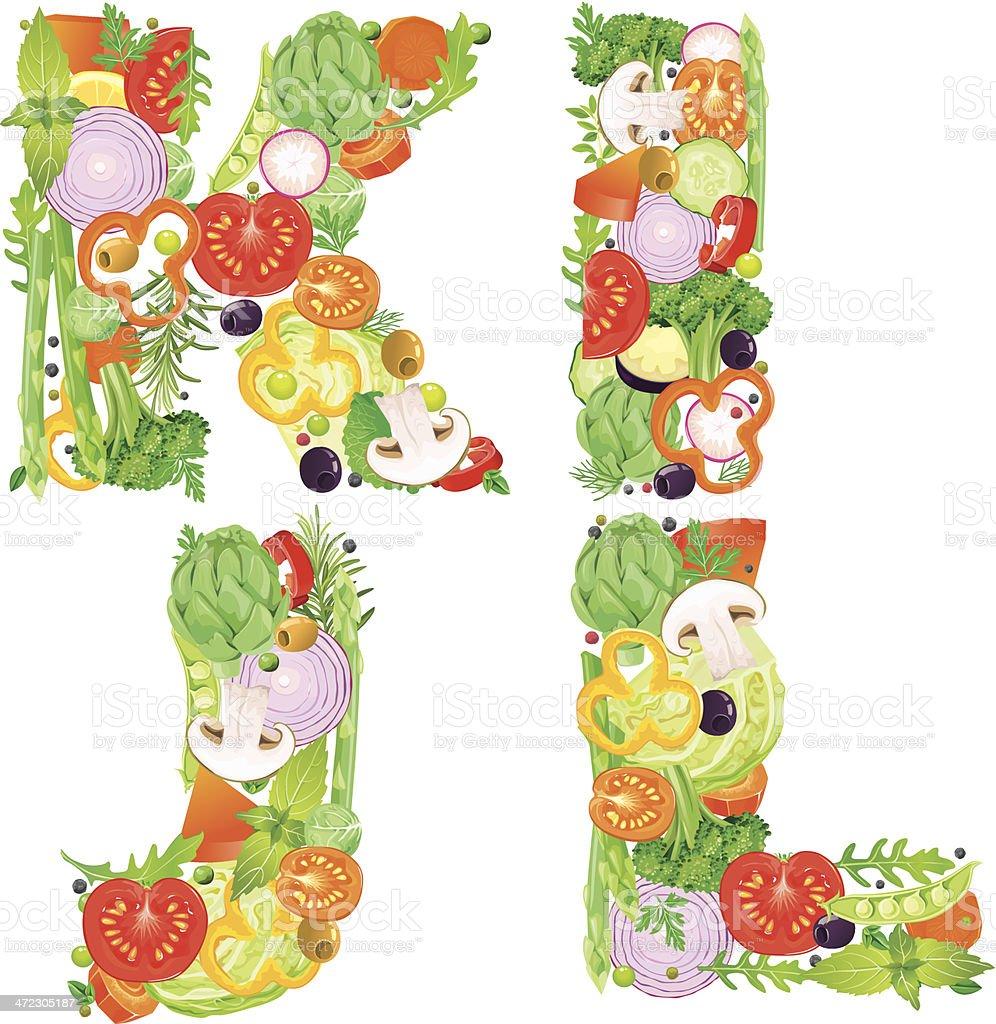 Alphabet of vegetables IJKL royalty-free alphabet of vegetables ijkl stock vector art & more images of alphabet