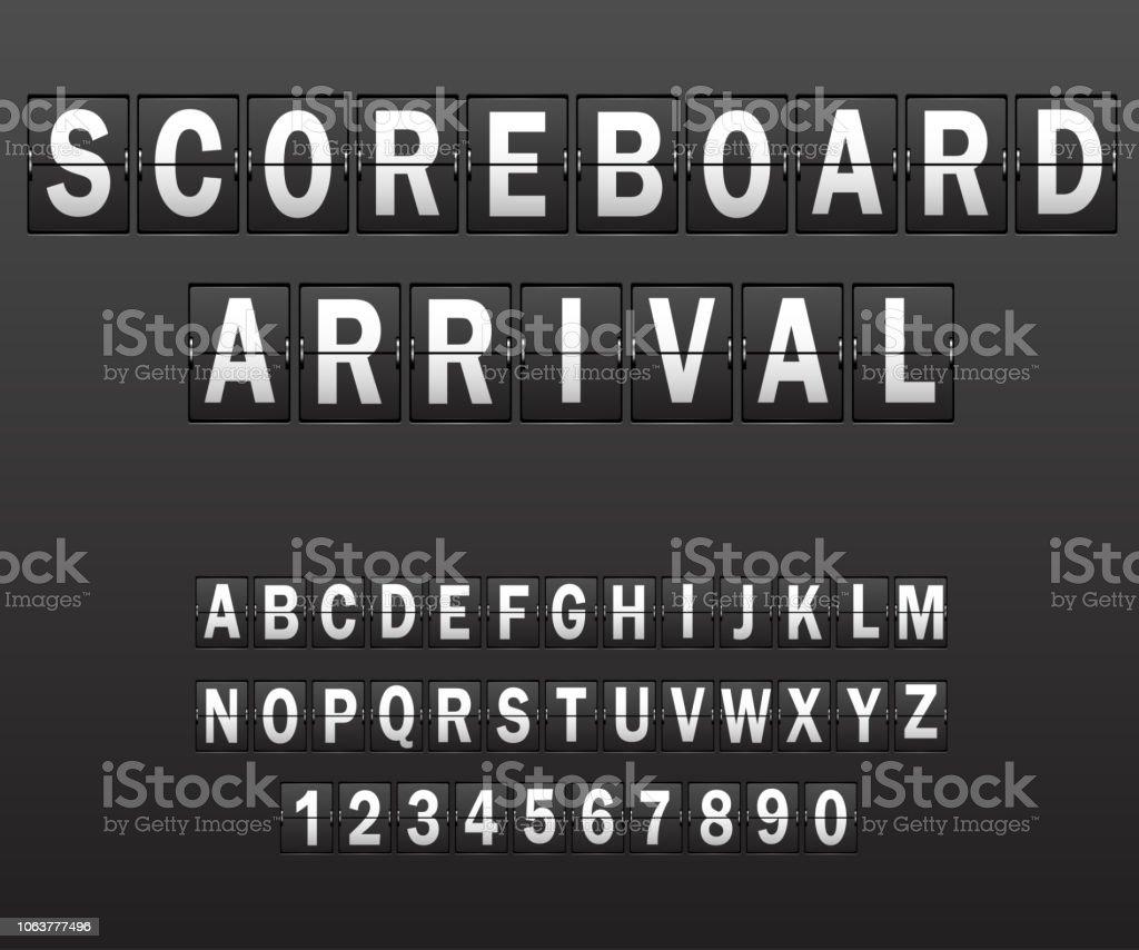 Alphabet on scoreboard. Set of white letters of mechanical timetable vector art illustration