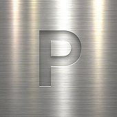 """Silver letter """"P"""" on a realistic brushed metal texture (metal background)."""