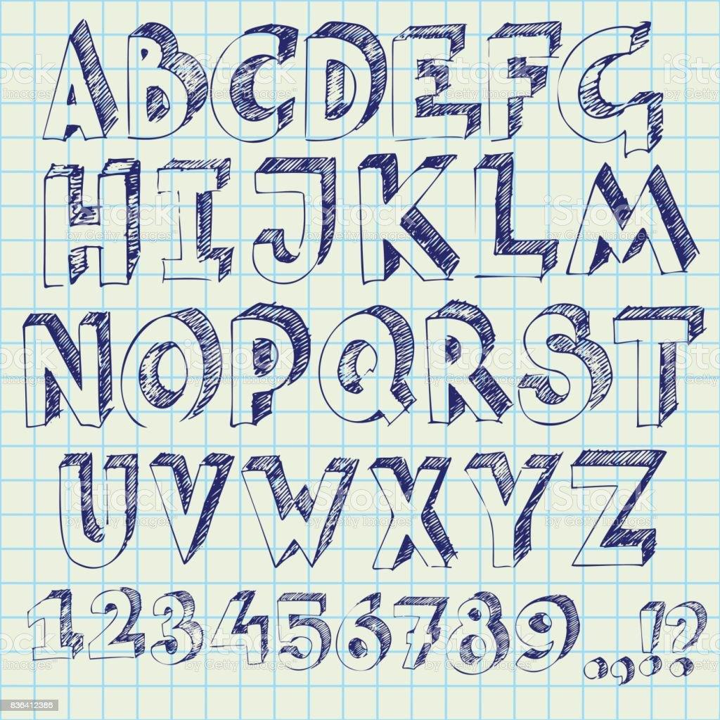 Vetores De Mão De Caneta Alfabeto Desenho 3d Letras E