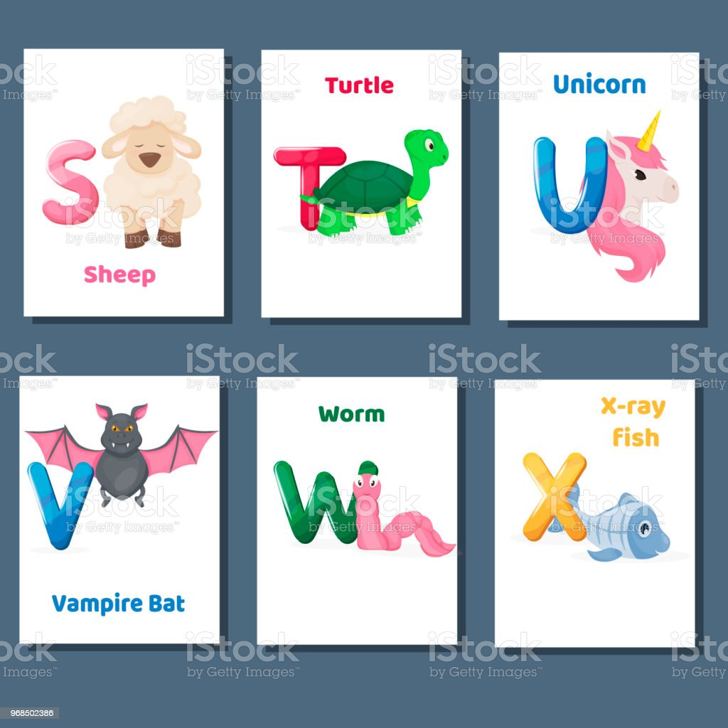 Alphabet Printable Flashcards Vector Collection With Letter ...