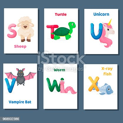 Capitol One Gm Card >> Alphabet Printable Flashcards Vector Collection With Letter S T U V W X Zoo Animals For English ...