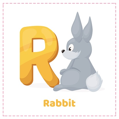 Alphabet printable flashcards vector with letter R.