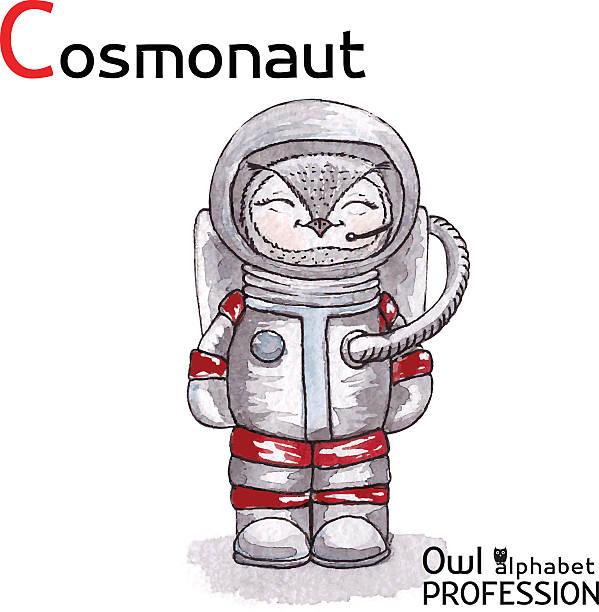 alphabet berufe eule buchstabe c-cosmonaut vektor-aquarell. - aerial overview soil stock-grafiken, -clipart, -cartoons und -symbole