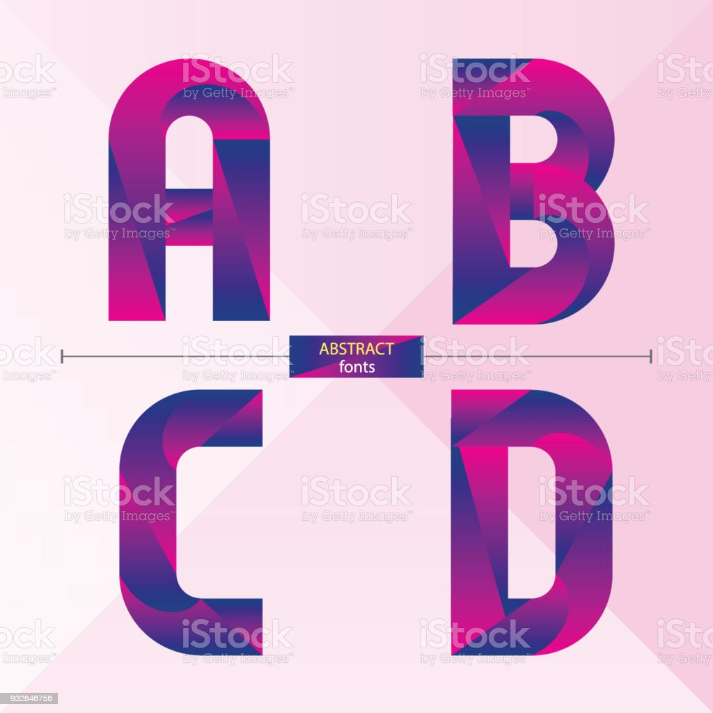 Alphabet Purple Color Geometric Style In A Set Abcd Stock Vector Art ...