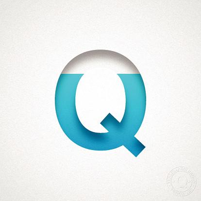 Alphabet Q Design - Blue Letter on Watercolor Paper