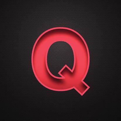 Alphabet Q Design - Red Letter on Carbon Fiber Background