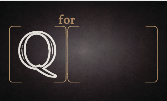 Alphabet - Q on blackboard