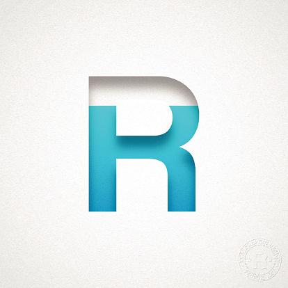 Alphabet R Design - Blue Letter on Watercolor Paper