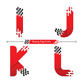 Vector graphic alphabet in a set I,J,K,L, with Abstract Racing Flag. Typography design for posters, logos, cover, etc.