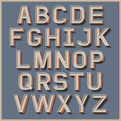 Alphabet retro colour style.