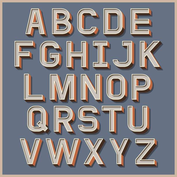 ilustrações de stock, clip art, desenhos animados e ícones de alfabeto de cores retro estilo. - writing ideas