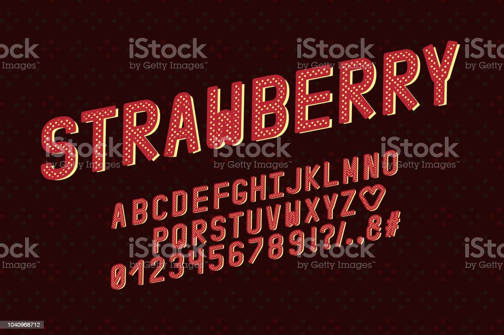 Alphabet Retro Design Strawberry Color Style Letters Numbers