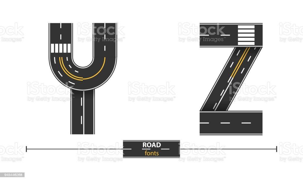 Alphabet Road in a set YZ vector art illustration