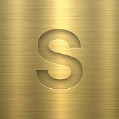 """Gold letter """"S"""" on a realistic gold metal texture (gold background)."""