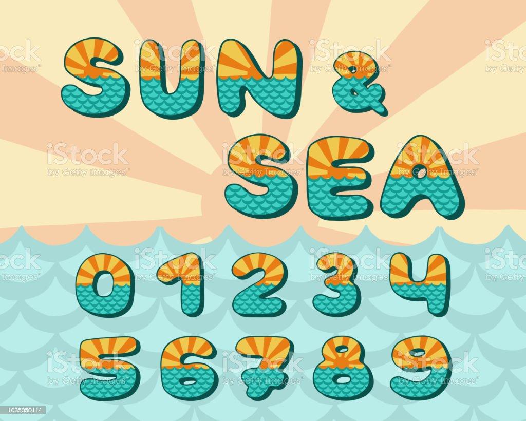 Alphabet Sea Horizon Vintage Design Sun Rays And Sea Waves ...