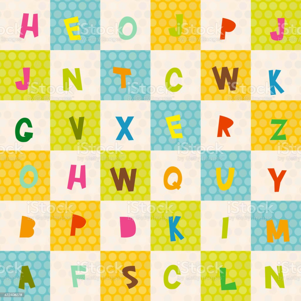alphabet seamless pattern polka dot background green blue orange