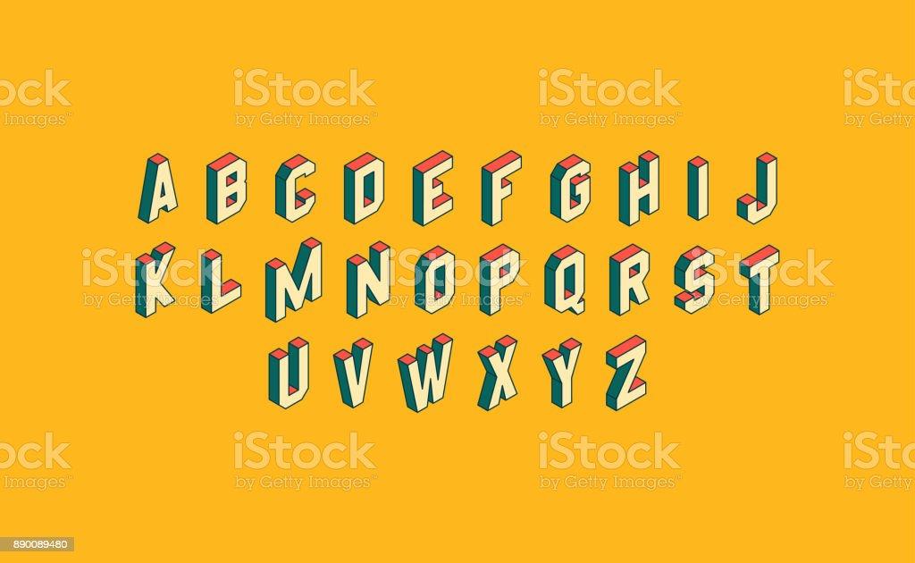 Alphabet ensemble.   3 d illustration vectorielle.   Éléments de Design. - Illustration vectorielle