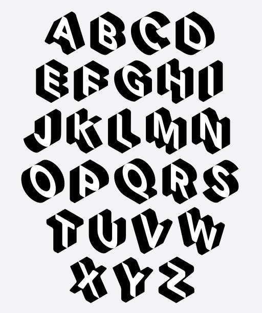 ilustrações, clipart, desenhos animados e ícones de jogo do alfabeto 3d - font