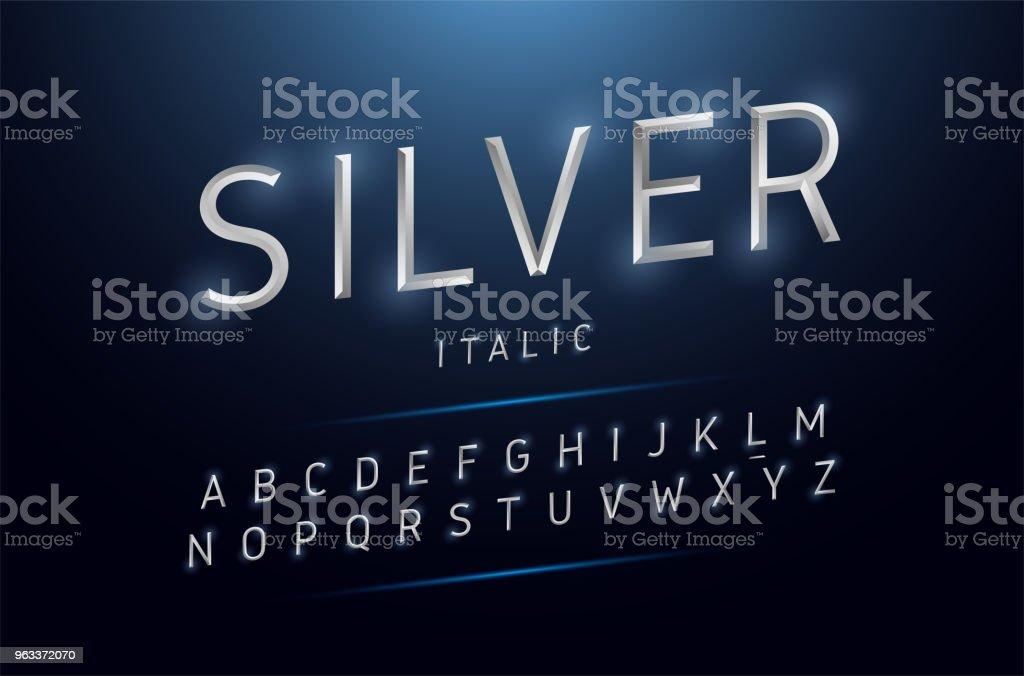 Alphabet silver metallic and effect designs. Exclusive letters typography italic font digital, technology and sport concept. vector illustrator - Grafika wektorowa royalty-free (Abstrakcja)