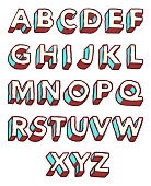 Three dimensional alphabet in sketchy style.