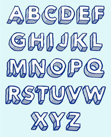 Alphabet sketch 3D Hatching
