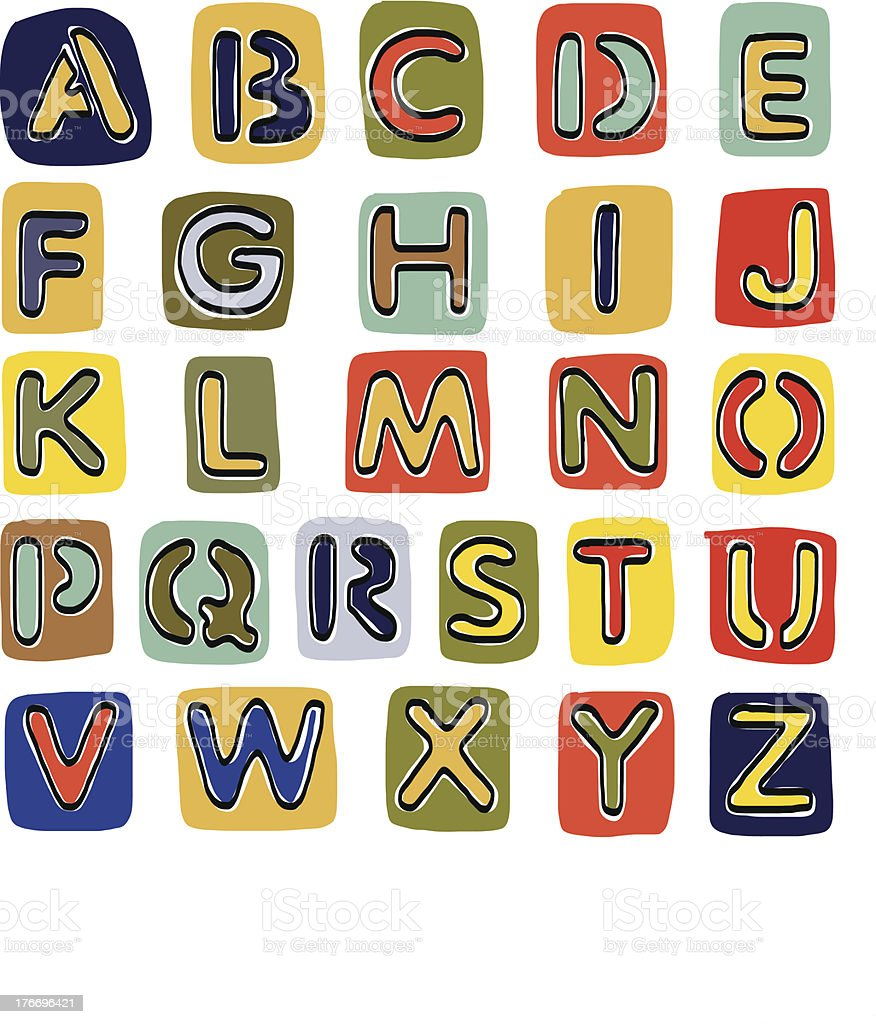 Alphabet sketchbook royalty-free stock vector art