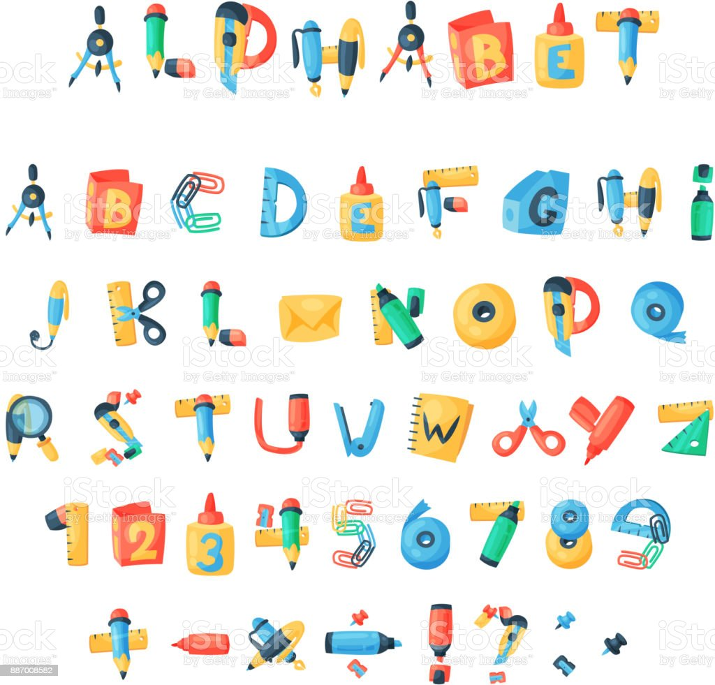 Alphabet stationery letters vector abc font alphabetic icons of alphabet stationery letters vector abc font alphabetic icons of office supply and school tools accessories for urtaz Gallery