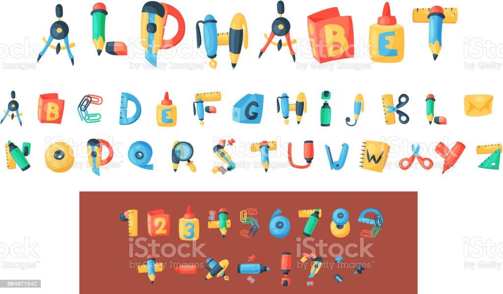 アルファベットひな形ベクター オフィス用品の abc フォント アルファベット アイコンおよび学校ツール教育鉛筆やペンの背景イラストにアルファベット順に分離用アクセサリー ベクターアートイラスト
