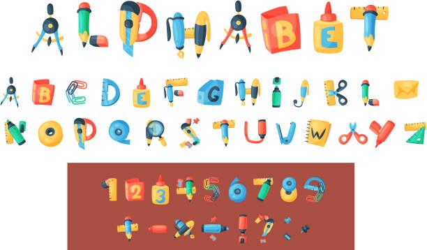 アルファベットひな形ベクター オフィス用品の abc フォント アルファベット アイコンおよび学校ツール教育鉛筆やペンの背景イラストにアルファベット順に分離用アクセサリー - 学校の文房具点のイラスト素材/クリップアート素材/マンガ素材/アイコン素材