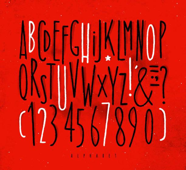 ilustraciones, imágenes clip art, dibujos animados e iconos de stock de fuente de líneas rectas alfabeto rojo - tipos de letra y tipografía