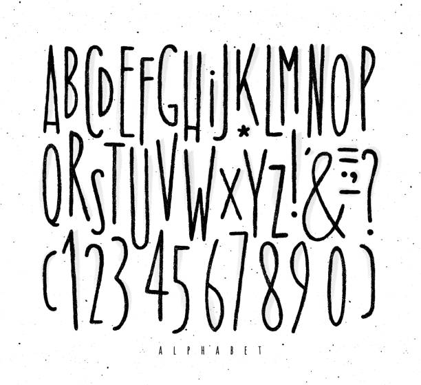 Alphabet straight lines font Alphabet set straight lines font in vintage style drawing with black lines on white background alphabet drawings stock illustrations