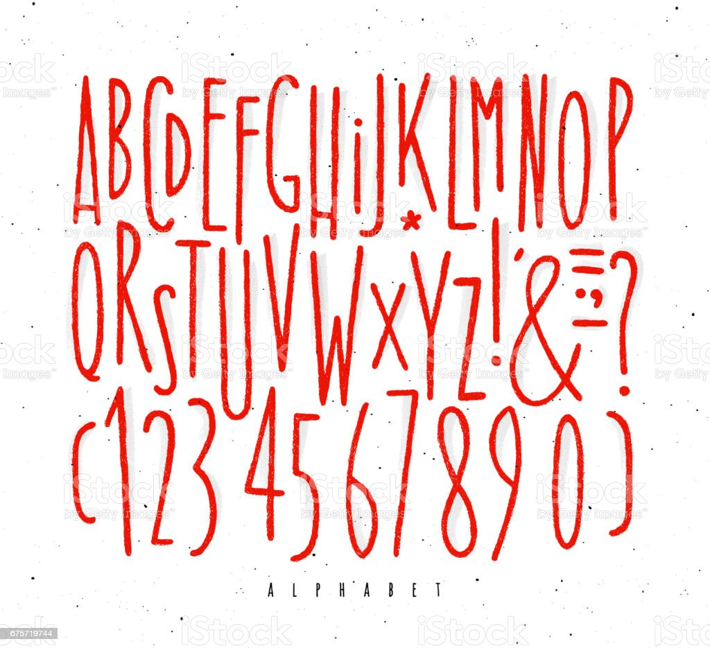 Alphabet gerade rote Linien Schriftart – Vektorgrafik