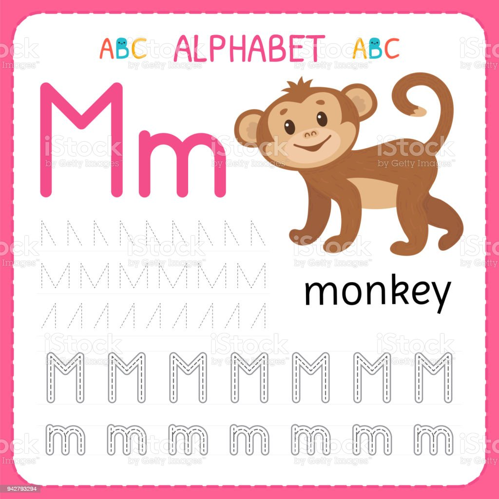 Alphabet tracing worksheet for preschool and kindergarten writing alphabet tracing worksheet for preschool and kindergarten writing practice letter m exercises for kids spiritdancerdesigns Image collections