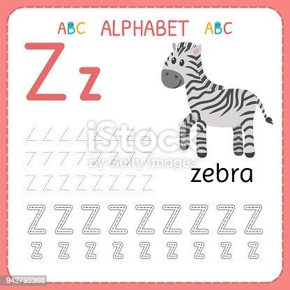 Ilustración de Hoja De Trabajo De Seguimiento Alfabeto Para ...