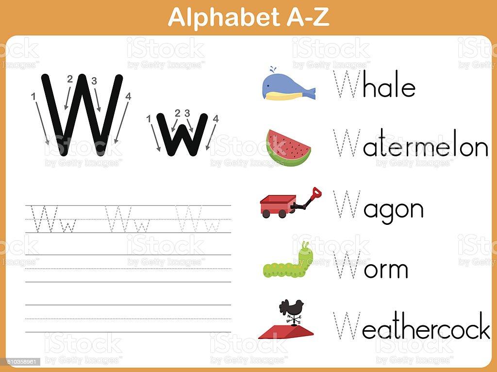 Alphabet Tracing Worksheet Writing Az Stock Vector Art & More Images ...