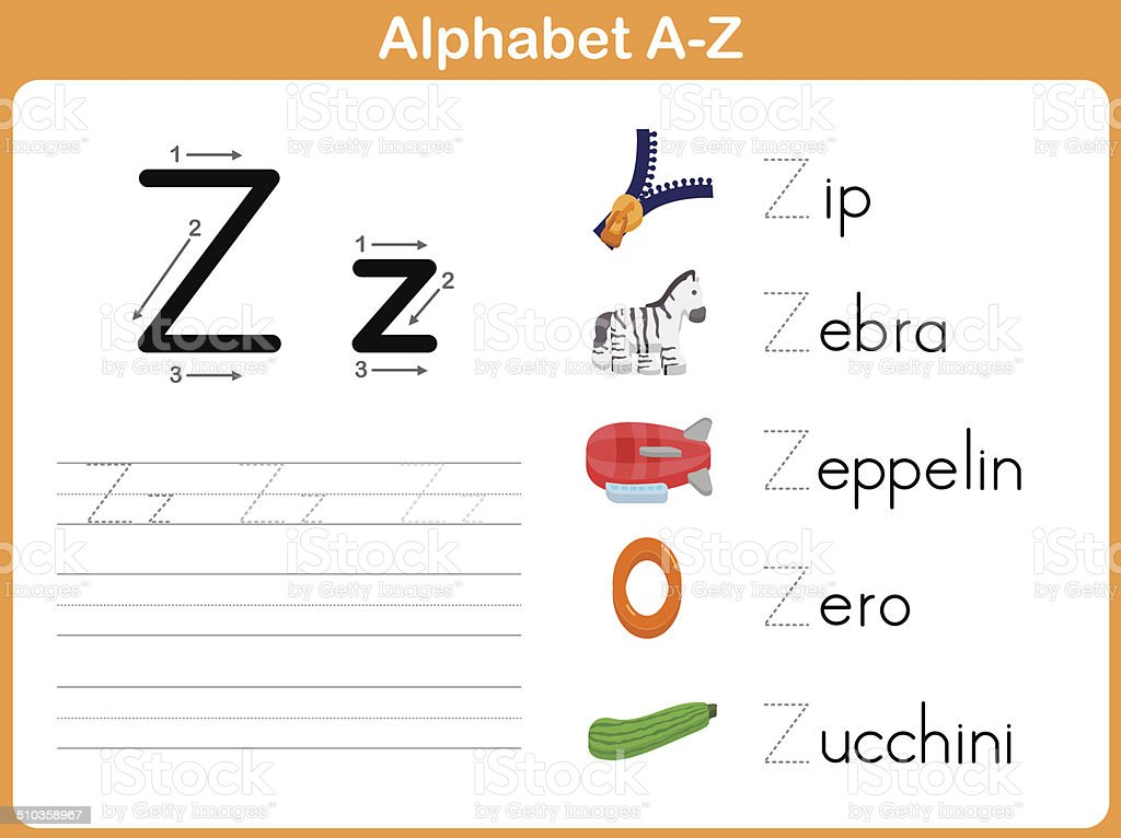 Alphabet Worksheets Az : Alphabet tracing worksheet writing az stock vector art