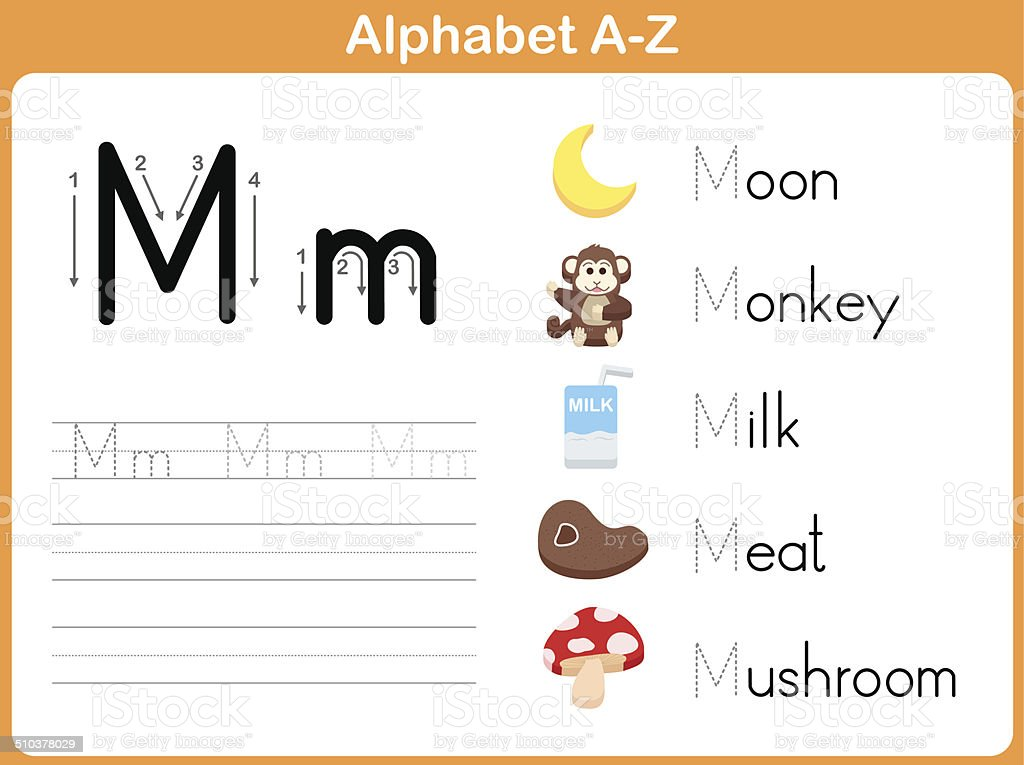 Alphabet Tracing Worksheet Writing Az Stock Vector Art & More Images ...