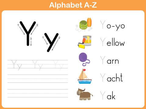 Alphabet Tracing Worksheet Writing Az Stock Illustration ...