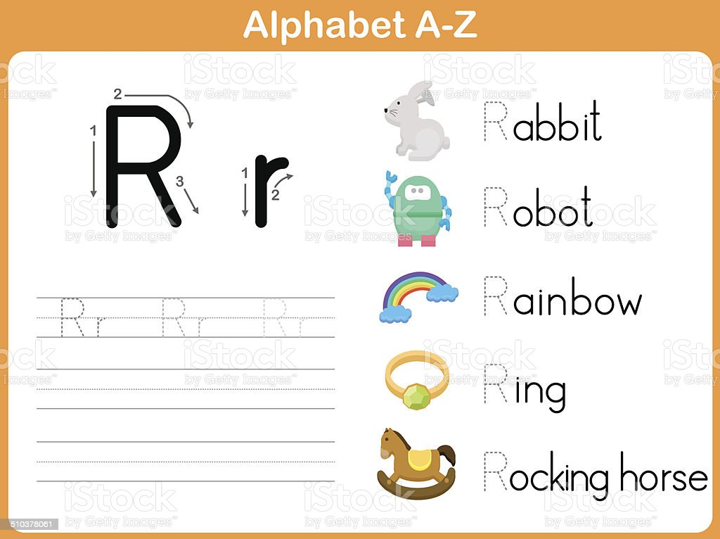 Alphabet Tracing Worksheet Writing Az stock vector art 510378061 – Alphabet Tracing Worksheets A-z