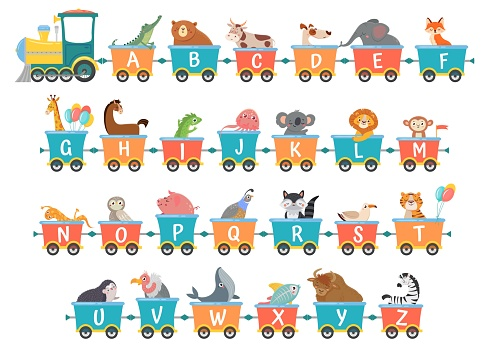 Alphabet train with animals. Cartoon animal illustration in van