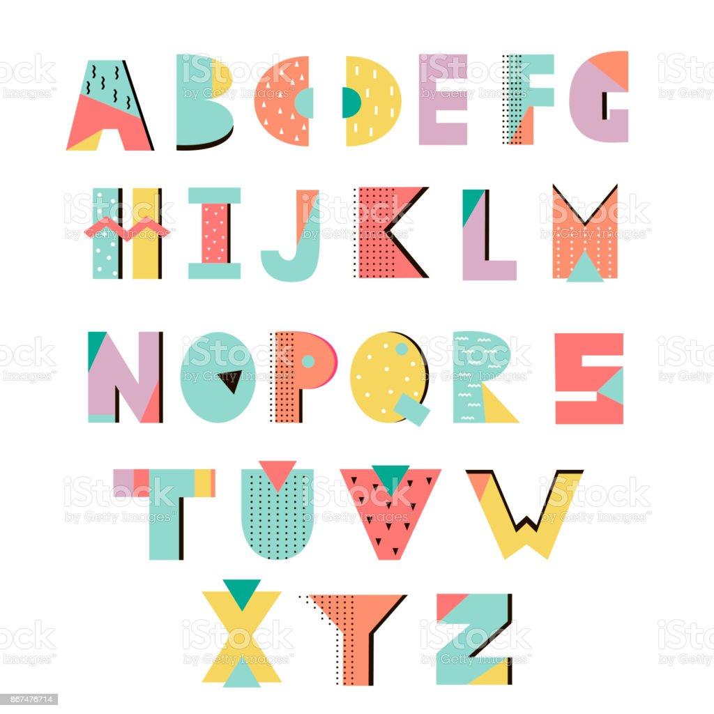 Memphis-alphabet – Vektorgrafik