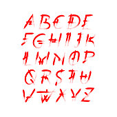 Alphabet vector set of red capital handwritten letters.