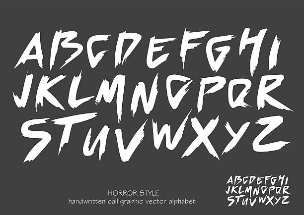 alphabet vector set of white capital  letters on black background. - 恐怖点のイラスト素材/クリップアート素材/マンガ素材/アイコン素材