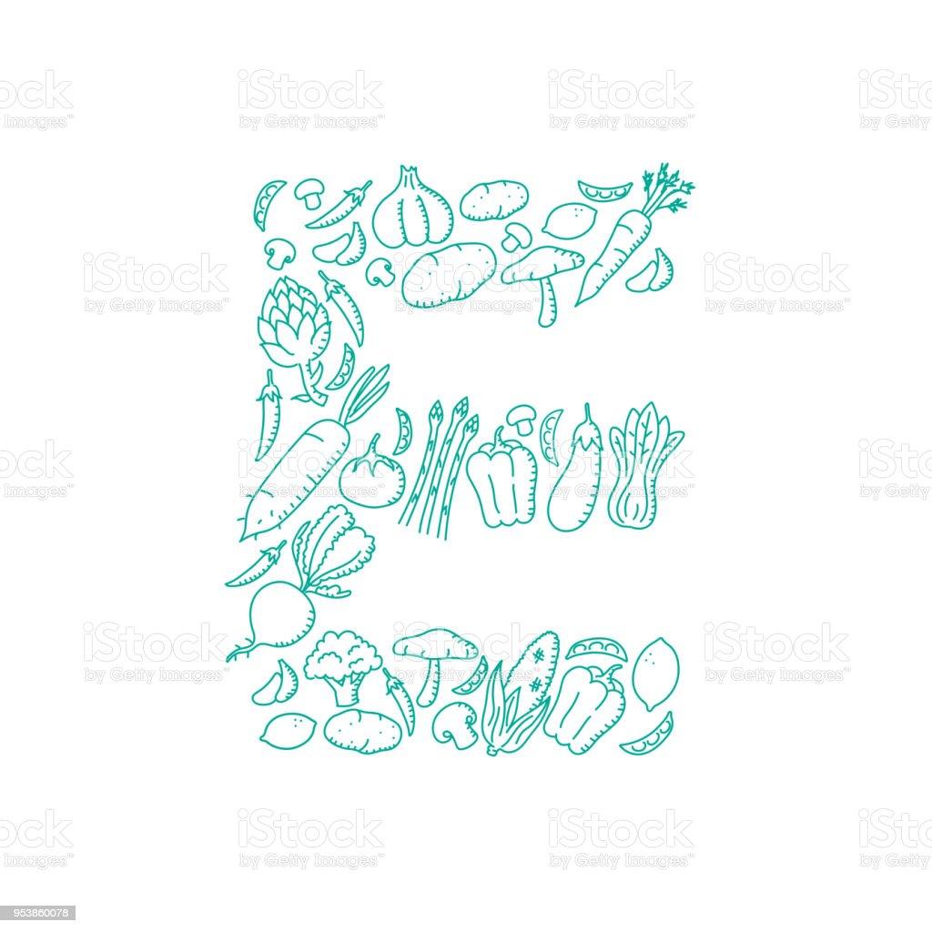 alphabet gemse muster set buchstaben e abbildung kinder hand zeichnung konzept design grne farbe isoliert - Konzept Muster
