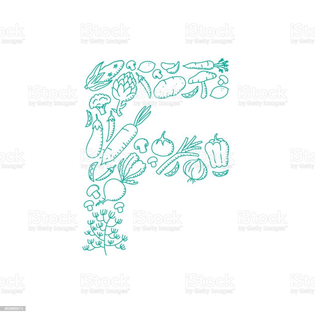 alphabet gemse muster set buchstaben f abbildung kinder hand zeichnung konzept design grne farbe isoliert - Konzept Muster