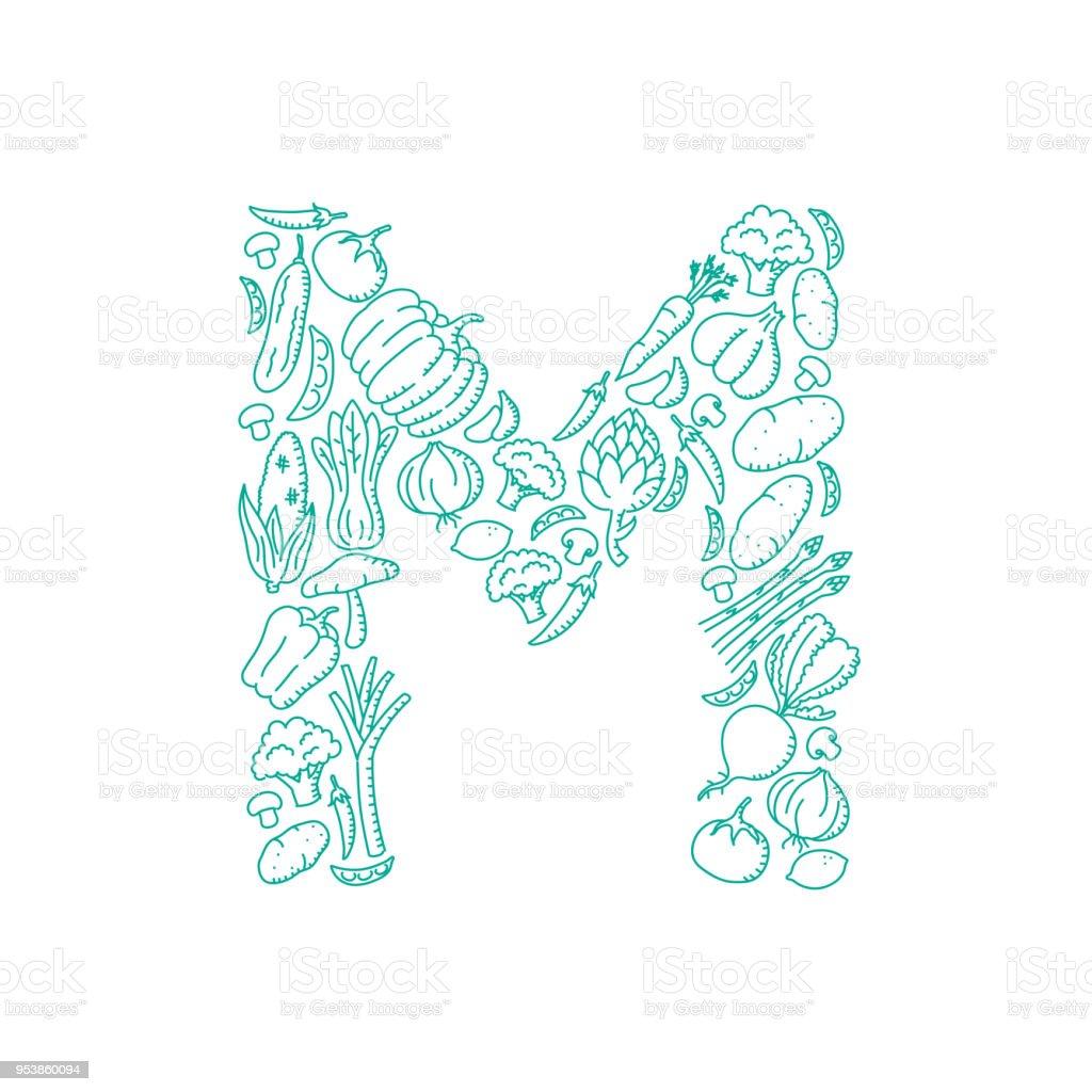 Alphabet Vegetable Pattern Set Letter M Illustration Kids Hand
